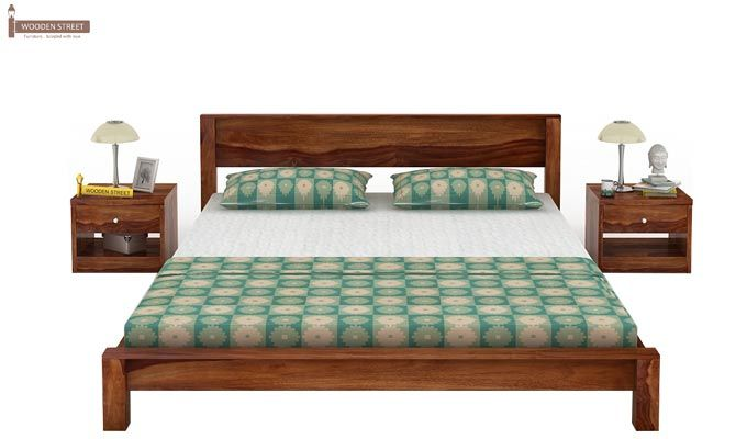 Rooney Low Floor Platform Bed (Queen Size, Teak Finish)-2