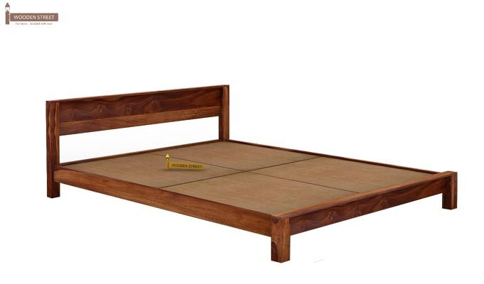 Rooney Low Floor Platform Bed (Queen Size, Teak Finish)-4