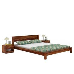 Rooney Low Floor Platform Bed (King Size, Teak Finish)