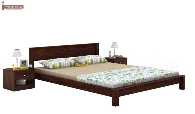 Rooney Low Floor Platform Bed (Queen Size, Walnut Finish)-1