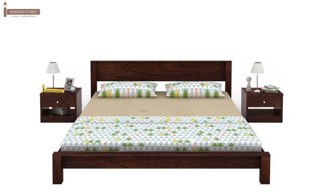 Rooney Low Floor Platform Bed (Queen Size, Walnut Finish)-2