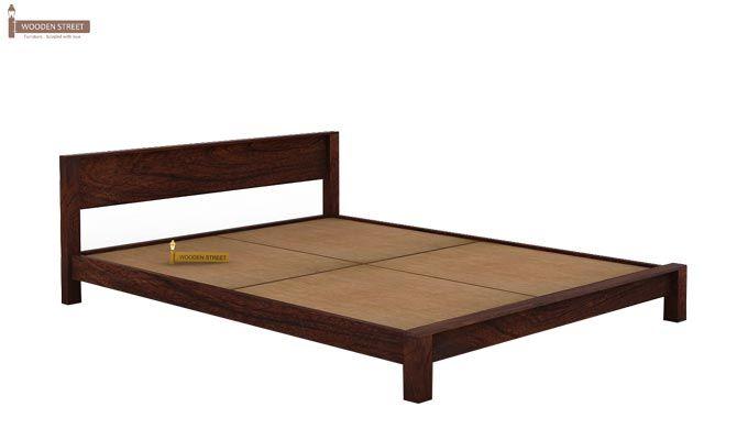 Rooney Low Floor Platform Bed (Queen Size, Walnut Finish)-4
