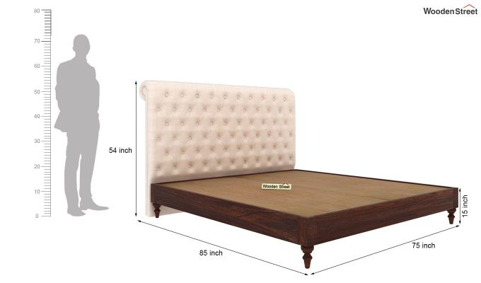 Samberg Upholstered Bed Without Storage (King Size, Egg Shell)-5