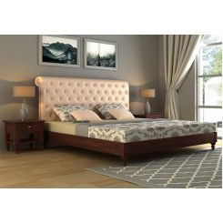 Samberg Upholstered Bed Without Storage (King Size, Rose White)