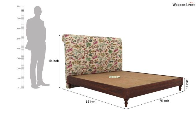 Samberg Upholstered Bed Without Storage (King Size, Rosy Leaf)-5