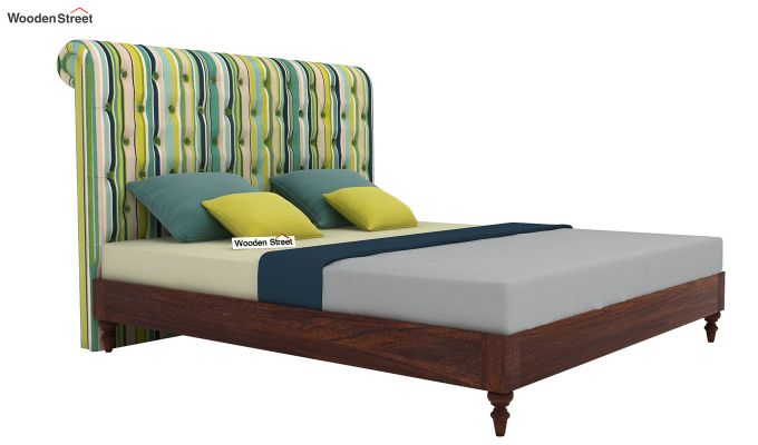 Samberg Upholstered Bed Without Storage (King Size, Striped Smurf)-2