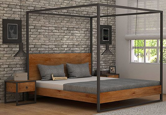 Samboy Loft Poster Bed Without Storage (Queen Size, Teak Finish)
