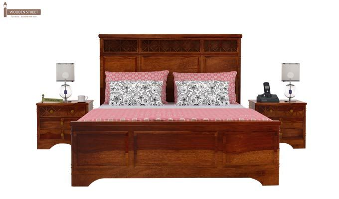 Swirl Bed Without Storage (Queen Size, Honey Finish)-2