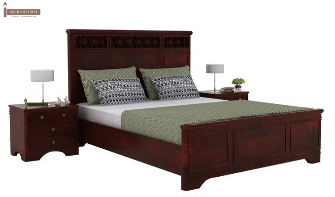 Swirl Bed Without Storage (Queen Size, Mahogany Finish)-2