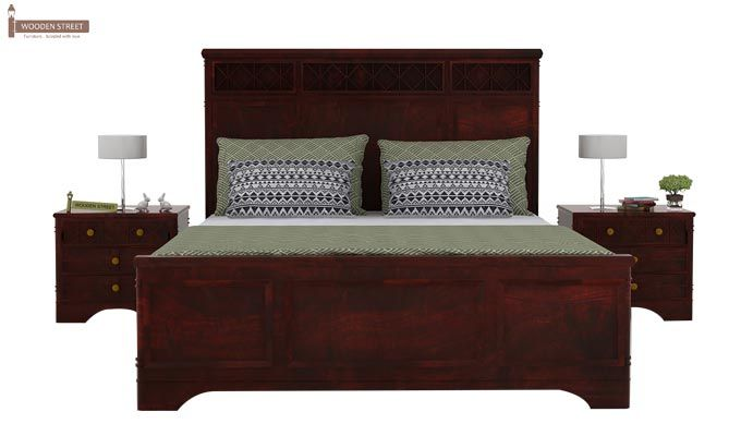 Swirl Bed Without Storage (Queen Size, Mahogany Finish)-3