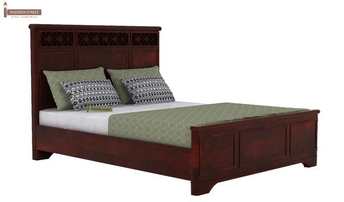 Swirl Bed Without Storage (Queen Size, Mahogany Finish)-4