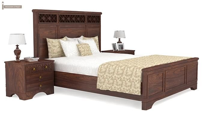 Swirl Bed Without Storage (Queen Size, Walnut Finish)-2