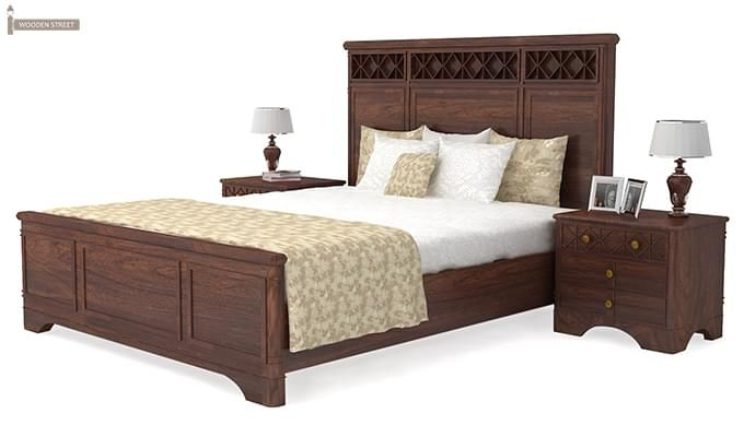 Swirl Bed Without Storage (Queen Size, Walnut Finish)-4