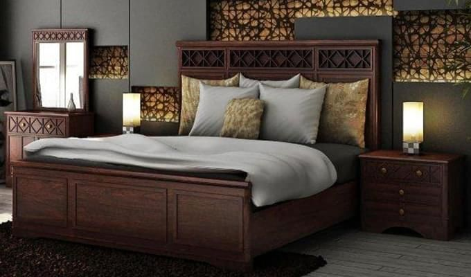 Swirl Bed Without Storage (Queen Size, Walnut Finish)-1