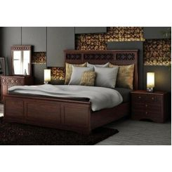 Swirl Bed Without Storage (Queen Size, Walnut Finish)