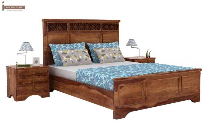 Swirl Bed Without Storage (Queen Size, Teak Finish)-1