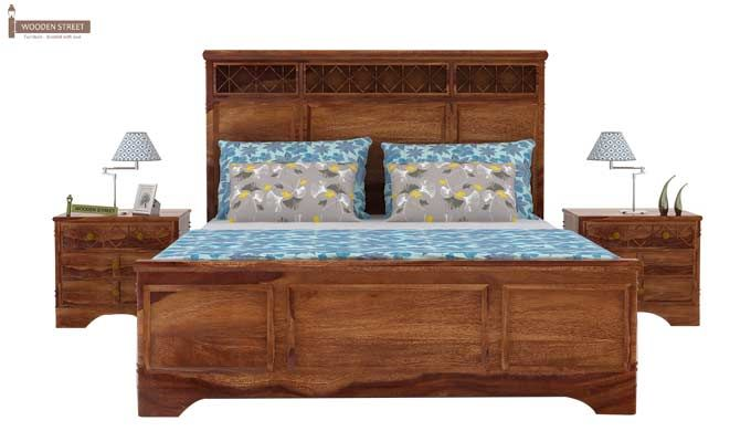 Swirl Bed Without Storage (Queen Size, Teak Finish)-3