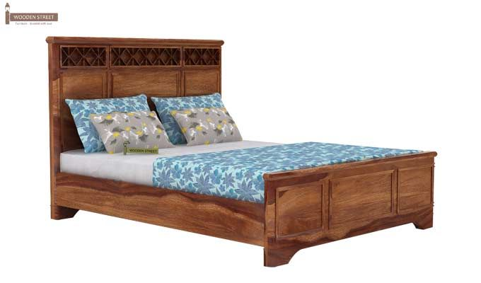 Swirl Bed Without Storage (Queen Size, Teak Finish)-4