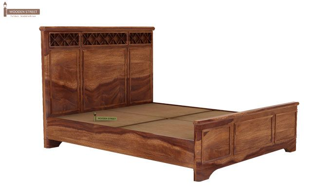 Swirl Bed Without Storage (Queen Size, Teak Finish)-5