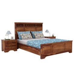 Swirl Bed Without Storage (Queen Size, Teak Finish)