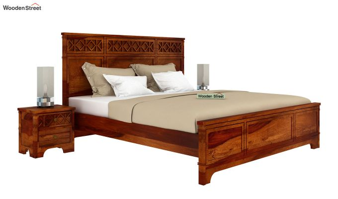 Swirl Bed Without Storage (King Size, Honey Finish)-2
