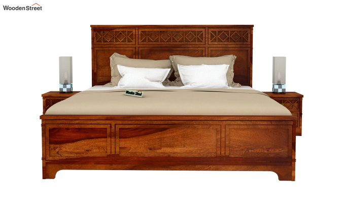 Swirl Bed Without Storage (King Size, Honey Finish)-3