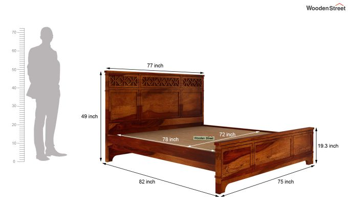 Swirl Bed Without Storage (King Size, Honey Finish)-5