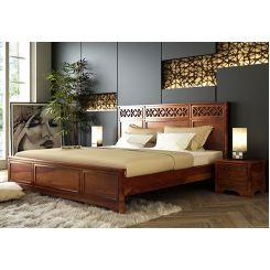 Swirl Bed Without Storage (King Size, Honey Finish)