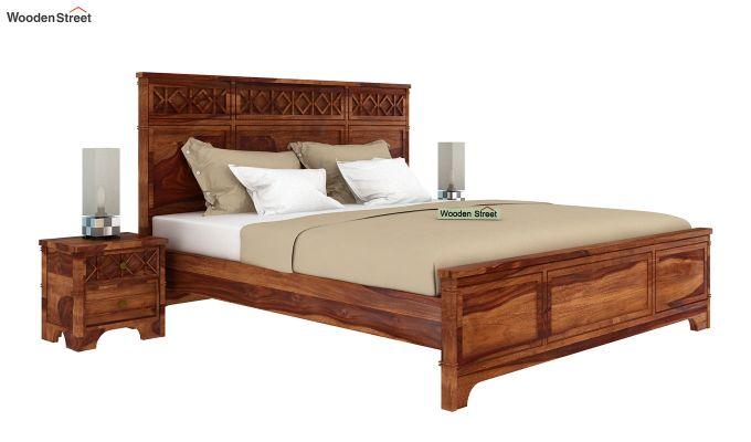 Swirl Bed Without Storage (King Size, Teak Finish)-2