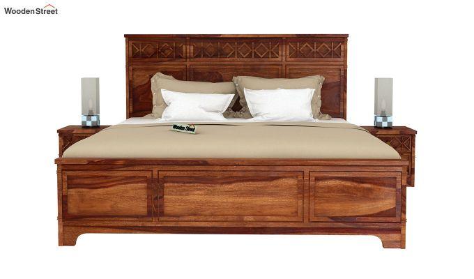 Swirl Bed Without Storage (King Size, Teak Finish)-3