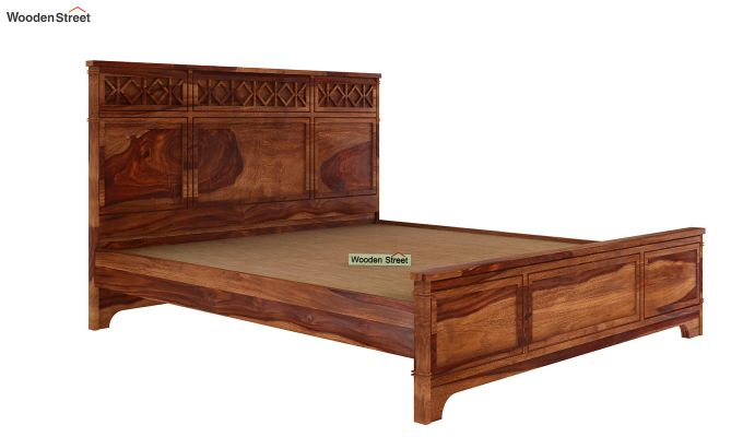 Swirl Bed Without Storage (King Size, Teak Finish)-4