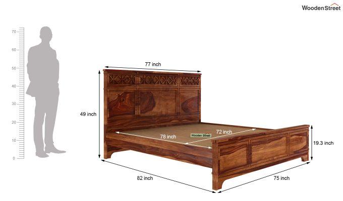 Swirl Bed Without Storage (King Size, Teak Finish)-5