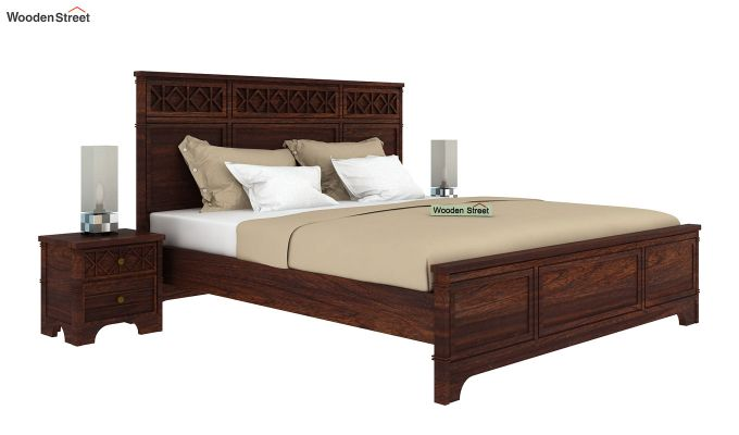 Swirl Bed Without Storage (King Size, Walnut Finish)-2