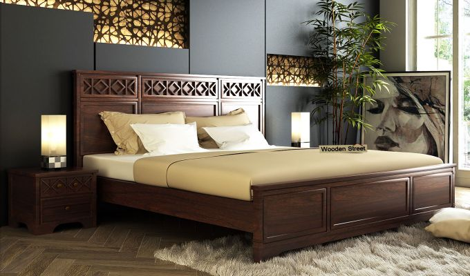 Swirl Bed Without Storage (King Size, Walnut Finish)-1