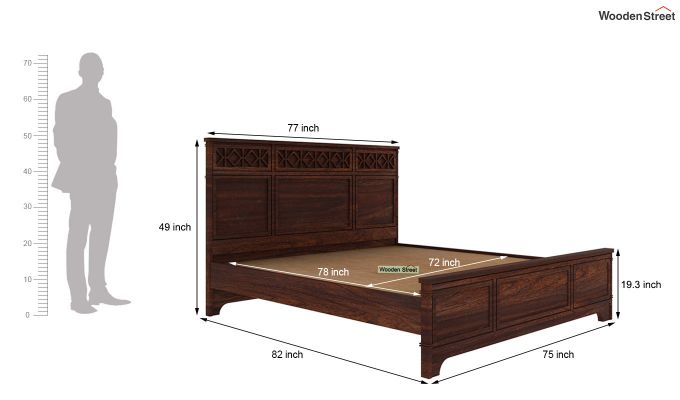 Swirl Bed Without Storage (King Size, Walnut Finish)-5