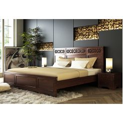 Swirl Bed Without Storage (King Size, Walnut Finish)