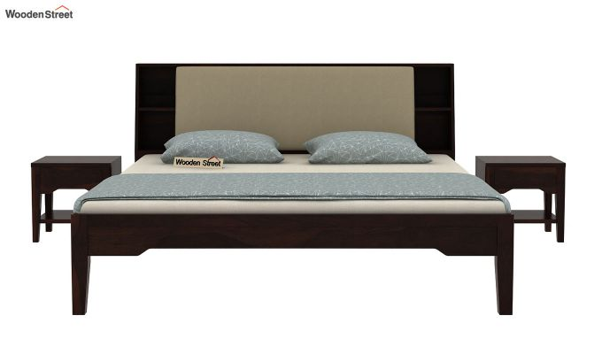 Telos Bed Without Storage (King Size, Walnut Finish)-3