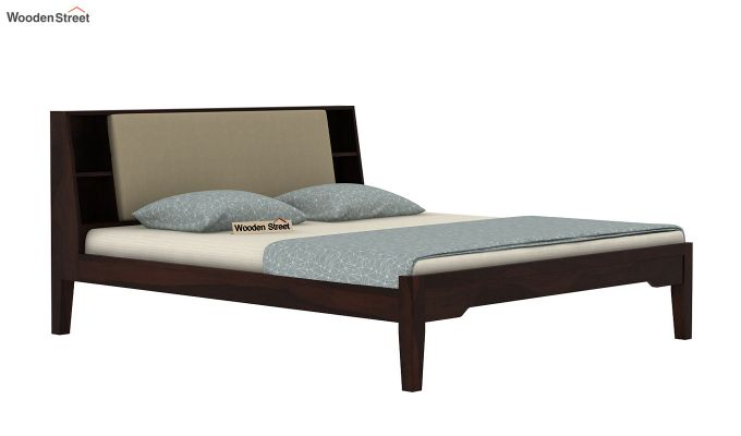 Telos Bed Without Storage (King Size, Walnut Finish)-4
