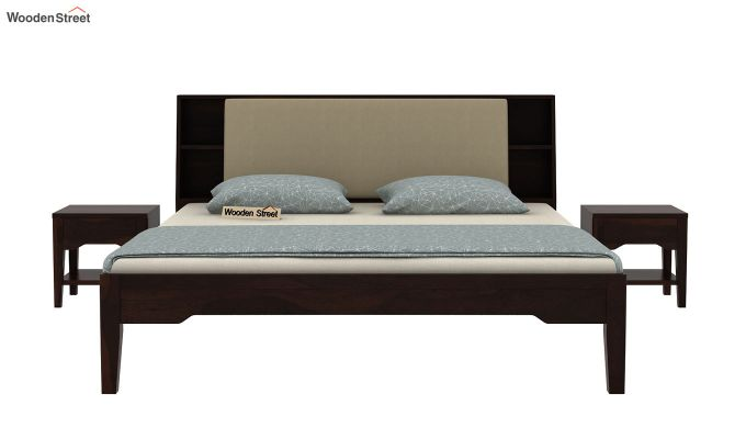 Telos Bed Without Storage (King Size, Walnut Finish)-5