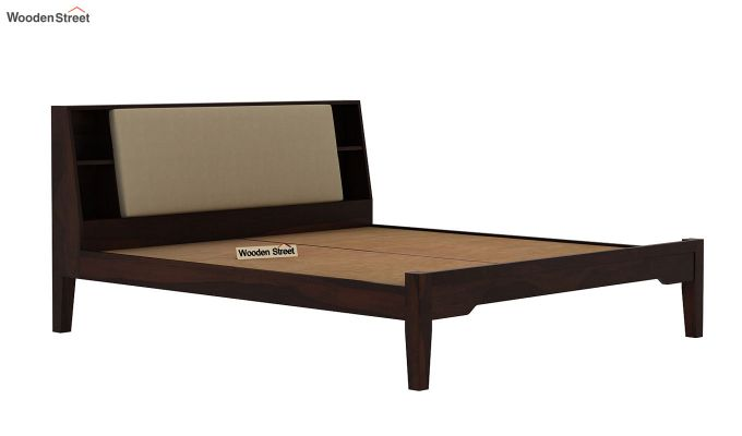 Telos Bed Without Storage (King Size, Walnut Finish)-6