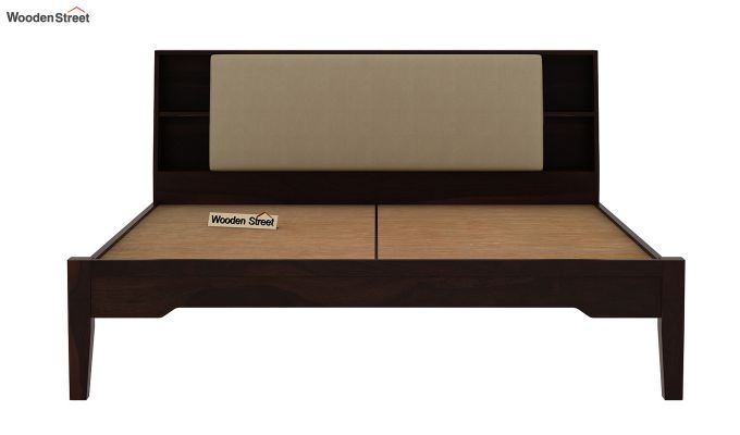 Telos Bed Without Storage (King Size, Walnut Finish)-7