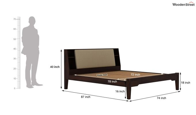 Telos Bed Without Storage (King Size, Walnut Finish)-9