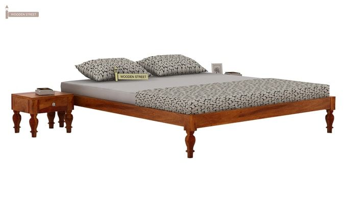 Trae Bed Without Storage (Queen Size, Honey Finish)-1