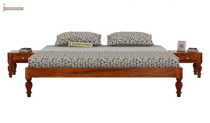 Trae Bed Without Storage (Queen Size, Honey Finish)-2