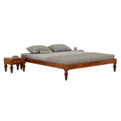 Trae Bed Without Storage (King Size, Honey Finish)