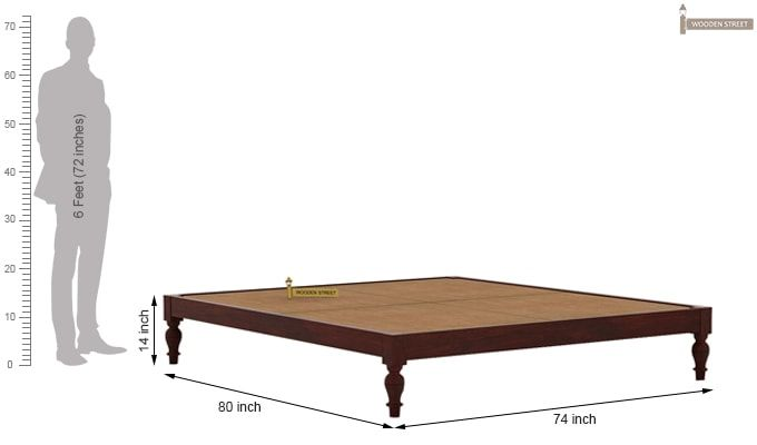 Trae Bed Without Storage (King Size, Mahogany Finish)-6