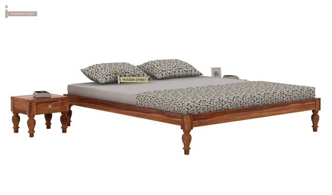 Trae Bed Without Storage (King Size, Teak Finish)-2