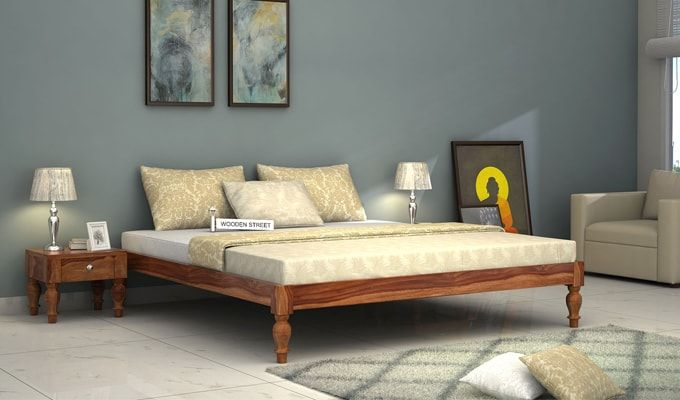 Trae Bed Without Storage (King Size, Teak Finish)-1