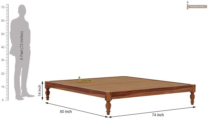 Trae Bed Without Storage (King Size, Teak Finish)-7