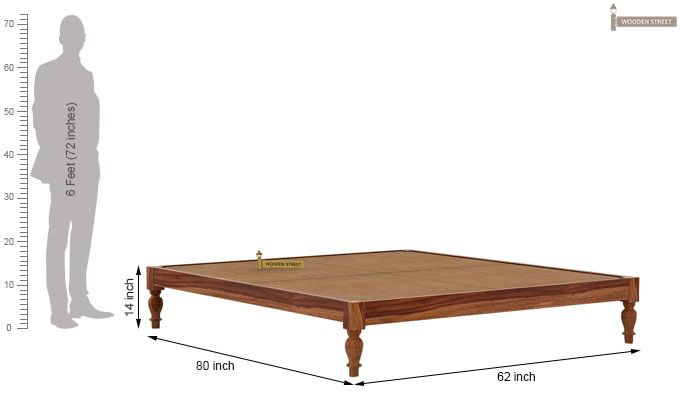 Trae Bed Without Storage (Queen Size, Teak Finish)-7